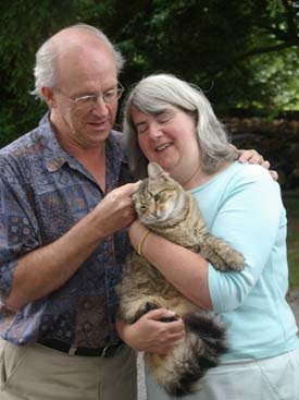 retiree couple with cat