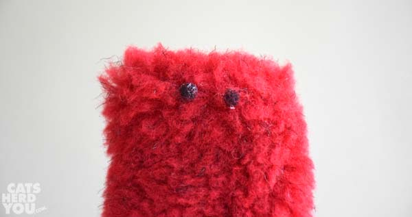 red fuzzy with eyes