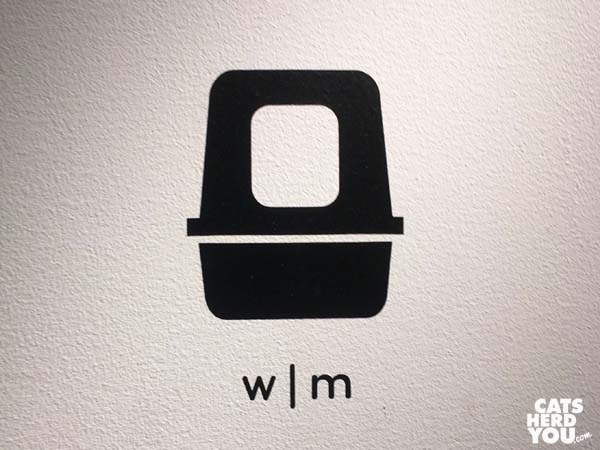 Restroom sign, Koneko cat cafe NYC
