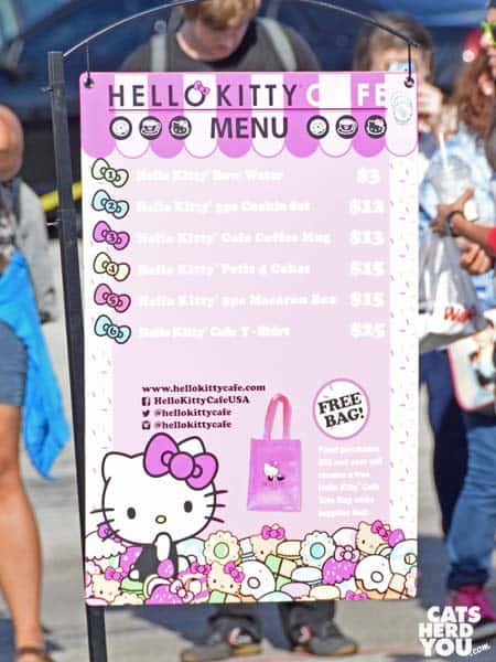 Hello Kitty Cafe truck menu