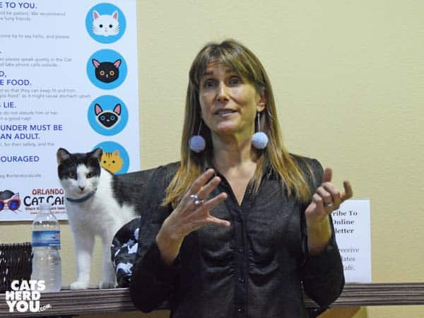 Jodi Ziskin speaks at the Orlando Cat Cafe