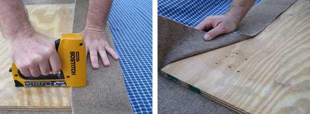 stapling carpet on base
