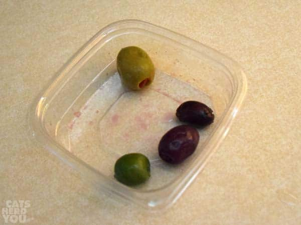 olives in a takeout container