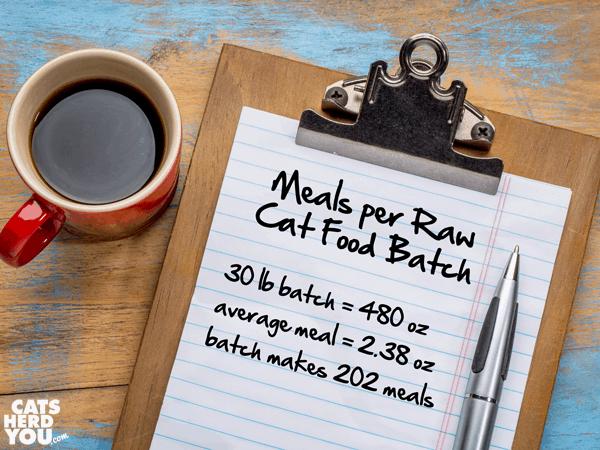 meals per raw cat food batch