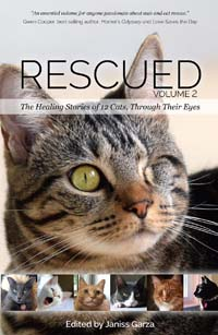 Rescued, Volume 2: The Healing Stories of 12 Cats, Through Their Eyes. Proceeds from authographed copies benefit Candy's Cats.