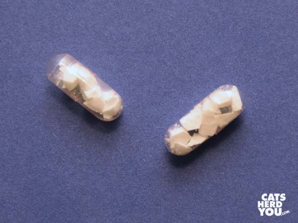 pill fragments in gelatin capsules