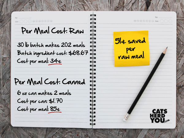 cost per meal for homemade ground raw food vs commercial canned food